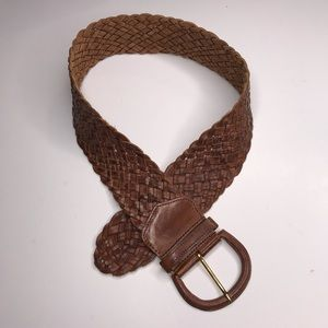 Vintage Wide Brown Leather Woven Belt